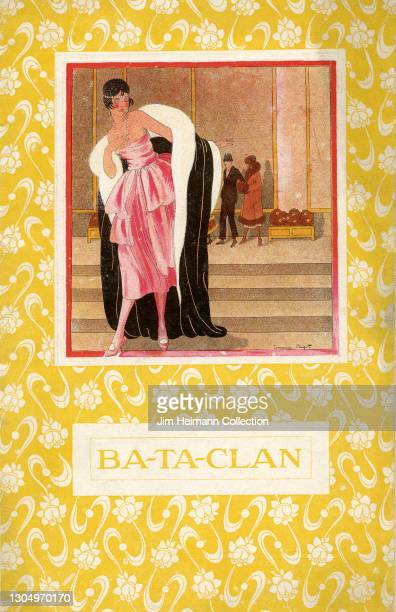 Souvenir program for the Bataclan theatre in Paris, France features an illustration of a fashionable woman in evening attire putting on a luxurious...