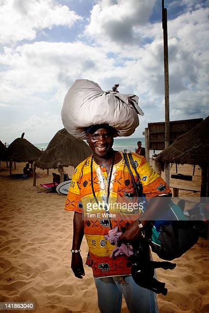 Souvenir salesman, Yoff beach, Dakar, Senegal, Africa