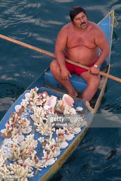 souvenir seller in boat in acapulco - acapulco stock pictures, royalty-free photos & images