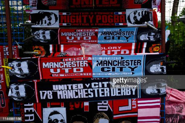 Souvenir seller's stand outside the stadium before Manchester United hosted Manchester City at Old Trafford. This was the 178th time the sides had...