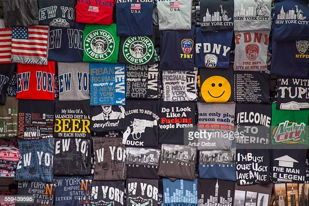 Souvenir shirts well arranged with nice composition in the streets of Manhattan New York United States