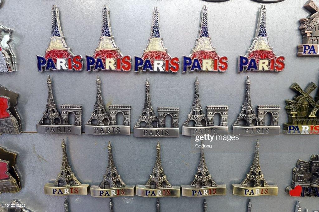 Souvenir shop in Paris  Eiffel tower  Paris  France  News