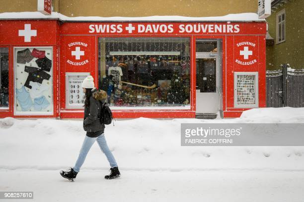 A souvenir shop is seen at the ski resort of Davos ahead of the World Economic Forum 2018 annual meeting on January 21 2018 in Davos The...