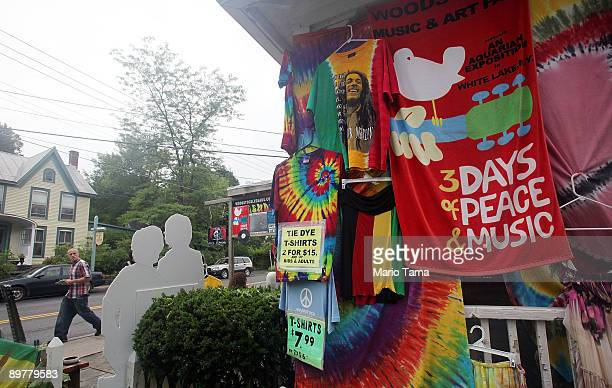 A souvenir shop sells goods as the 40th anniversary of the Woodstock music festival approaches August 13 2009 in Woodstock New York On August 1517 in...