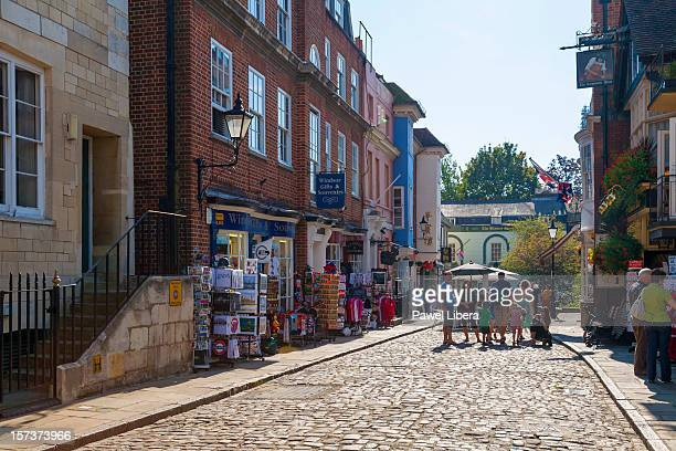 souvenir shops in windsor town center - windsor england stock pictures, royalty-free photos & images