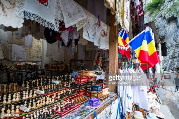 souvenir stall at bicaz gorge, transylvania, romania - gift shop stock photos and pictures
