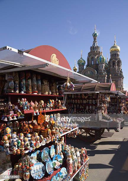 Souvenir Stall outside the Cathedral of the Resurrection, St Petersburg, Russia