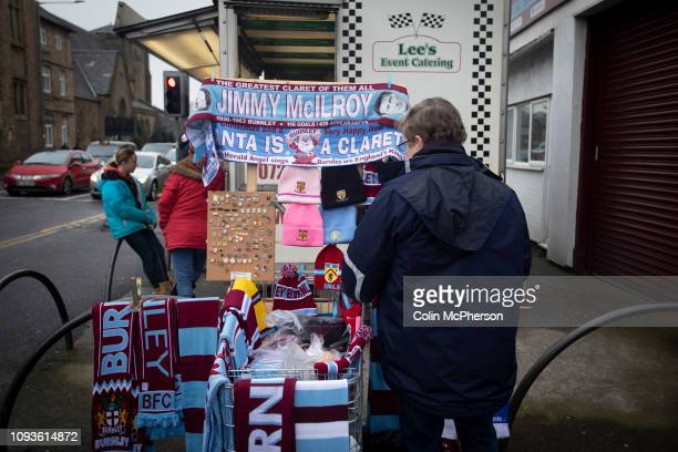 Souvenir stand outside the stadium before Burnley hosted Everton in an English Premier League fixture at Turf Moor. Founded in 1882, Burnley played...