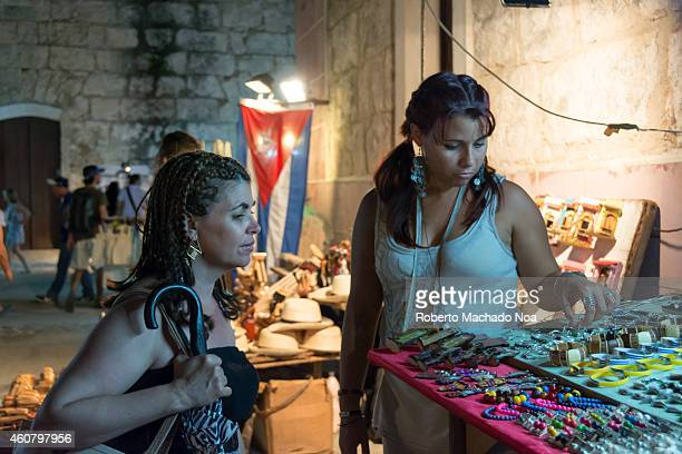Souvenir stands inside the La Cabana a colonial Spanish fortress in Old Havana where every day a gun is fire to announce the closing of the city at...