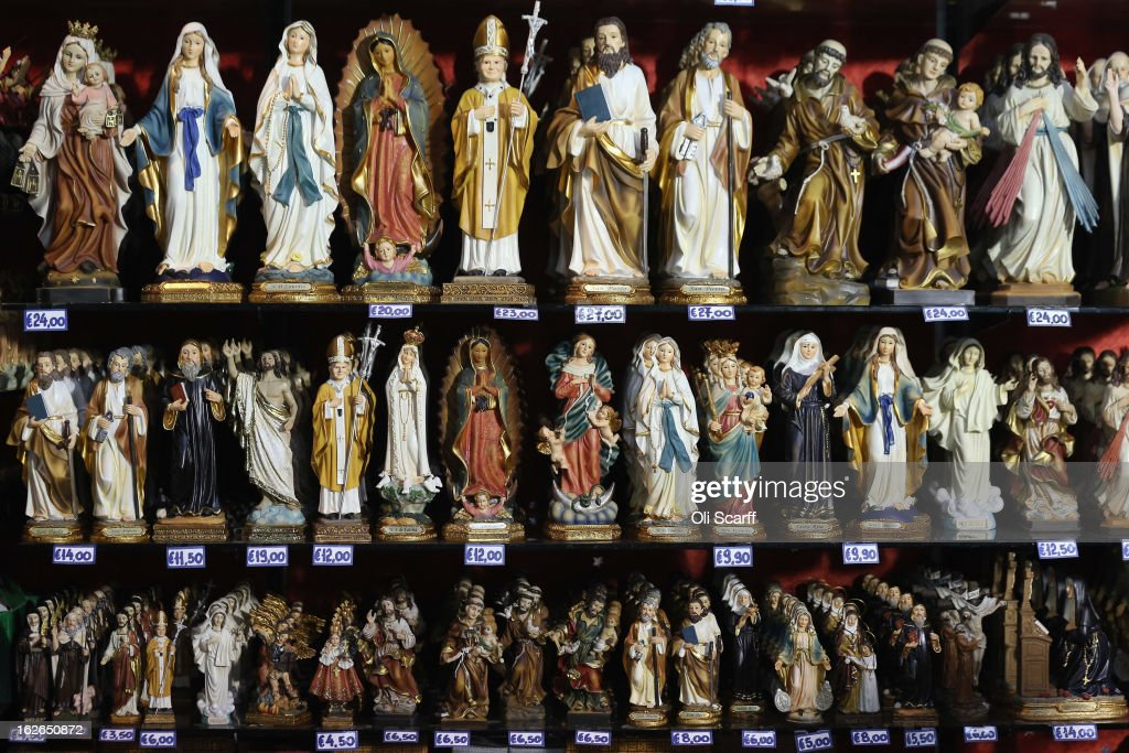 Souvenir statues, some depicting the Pope, are displayed for sale on February 25, 2013 in Rome, Italy. The Pontiff will hold his last weekly public audience on February 27, 2013 before he retires the following day. Pope Benedict XVI has been the leader of the Catholic Church for eight years and is the first Pope to retire since 1415. He cites ailing health as his reason for retirement and will spend the rest of his life in solitude away from public engagements.