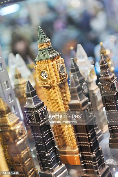 Souvenir statuettes of Big Ben for sale at Piccadilly in London