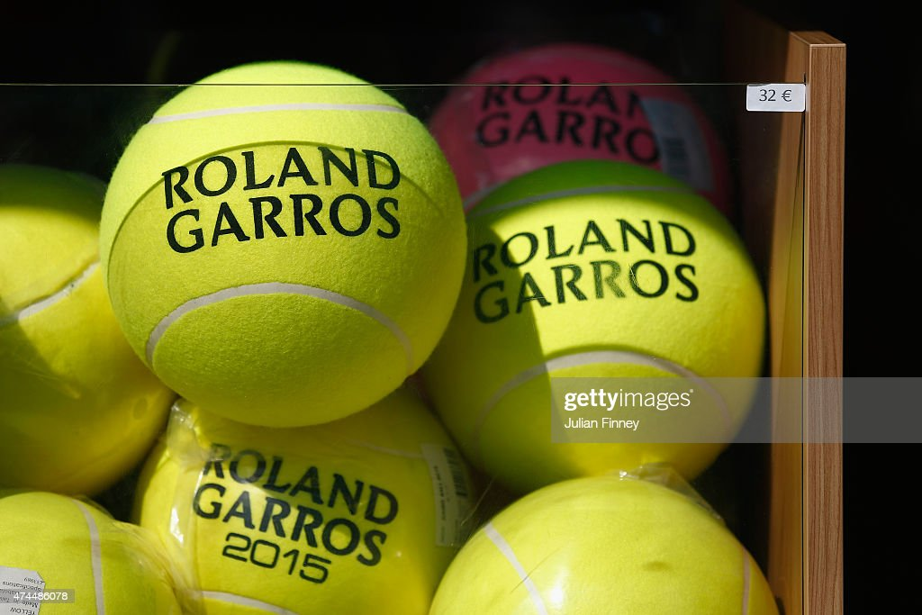 Souvenir tennis balls are sold ahead of the 2015 French Open at Roland Garros on May 23, 2015 in Paris, France.