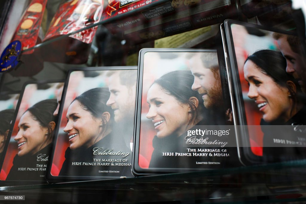 Souvenir tins stand on display in a shop window near Piccadilly Circus ahead of the much-anticipated wedding of Britain's Prince Harry to former US actress Meghan Markle, eight days hence, amid a growing sense of occasion in London, England, on May 11, 2018. Sixth-in-line to the throne Harry is to wed Ms Markle in a ceremony at the royal residence of Windsor Castle, on the outskirts of London, on May 19.