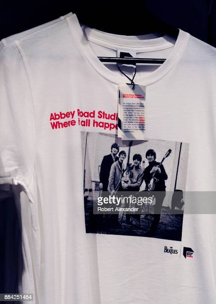 Souvenir T-shirts are among the Beatles-related items for sale at Abbey Road Shop, located near Abbey Road Studios in London, England, formerly known...