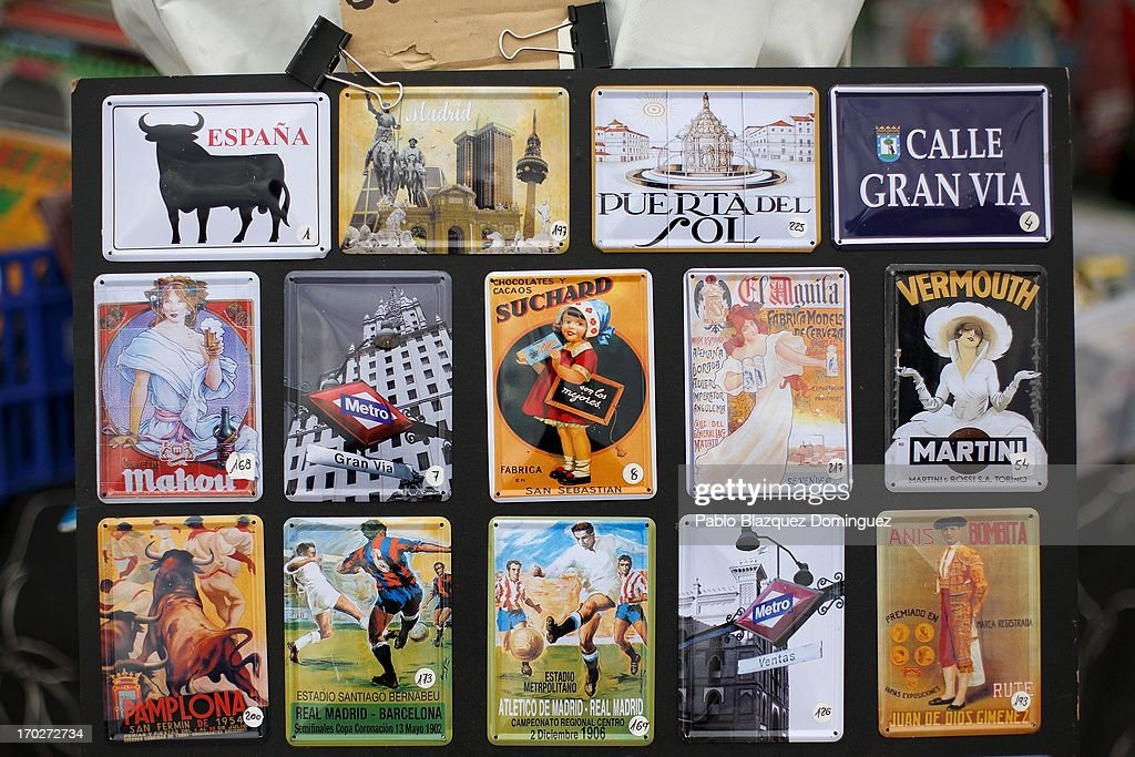Souvenirs are displayed at a shop in Jarama Circuit on June 9, 2013 in Madrid, Spain. The Jarama Vintage Festival seeks to revive the 1960s, 70s and 80s attracting classic cars and motorbikes against a background of public orientated activities and shows.