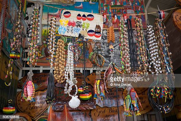 souvenirs at the iron market (marché de fer) - port au prince stock pictures, royalty-free photos & images