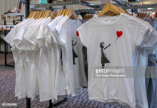 Souvenirs available at the Art of Banksy Exhibition at Aotea Centre on January 4, 2018 in Auckland, New Zealand. The exhibition features 89 Banksy...