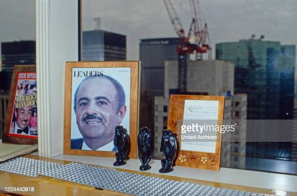Souvenirs collected by Adnan Khashoggi at his desk in his office at Olympic Tower in New York USA 1986