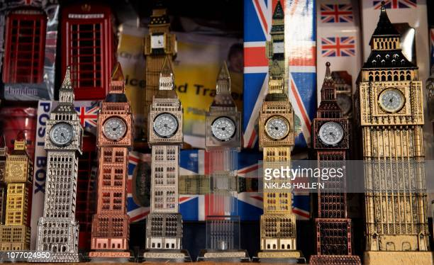 Souvenirs depicting landmarks and themes of the United Kingdom including the Elizabeth Tower of the Houses of Parliament more commonly known as Big...