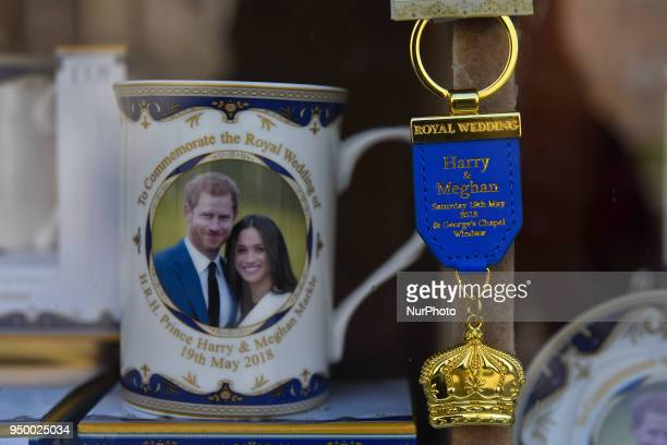 Souvenirs featuring Britain's Prince Harry and his fiance US actress Meghan Markle in a gift shop in Windsor west of London on April 22 2018 St...