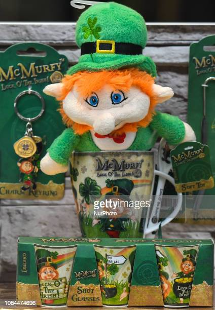 Souvenirs from Ireland for sale in Dublin City Center On Thursday January 17 in Dublin Ireland