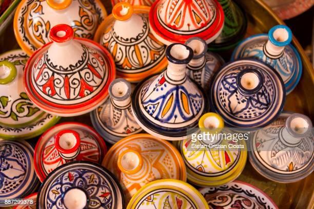 souvenirs from morocco - tajine fotografías e imágenes de stock