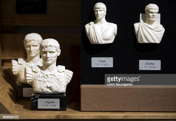 Souvenirs in 2000 years old Trier Busts of the Roman Emperors Augustus Trajan and Hadrian
