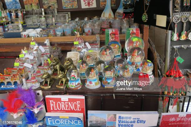 Souvenirs in a gift shop, in Florence, Italy