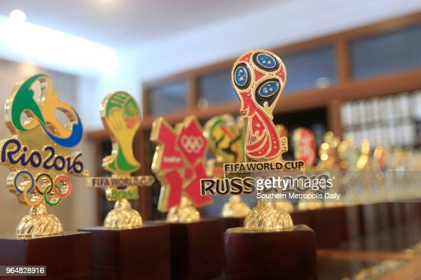 Souvenirs of different emblems include 2018 FIFA World Cup Russia and Rio 2016 Olympics Game are on displayed at Dongguan Wagon Giftware Co Ltd on...