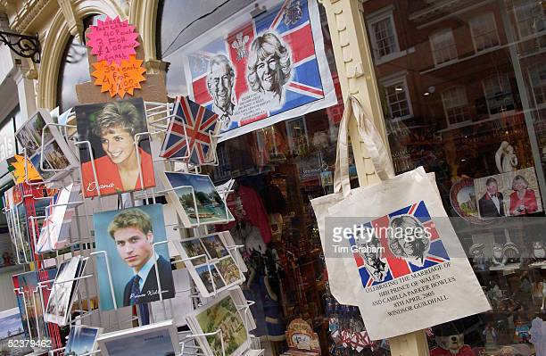 Souvenirs of Prince Charles and Camilla ParkerBowles next to postcards of Princess Diana and Prince William on March 12 2005 in Windsor England