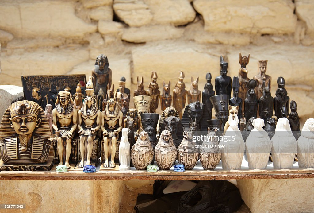 Souvenirs on sale at Saqqarah in Egypt : Stock Photo