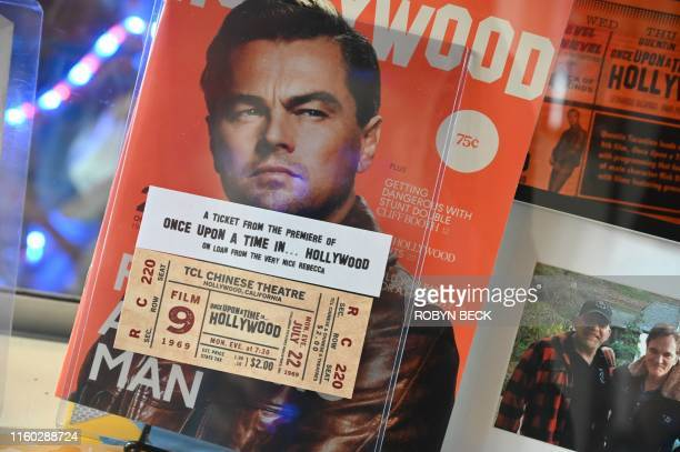 Souvenirs related to the movie Once Upon A Time In Hollywood are displayed at the Dearly Departed Tours and Artifact Museum in Los Angeles on August...