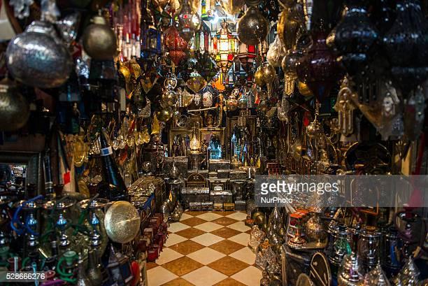 Souvenirs sold on the Souk El Had market in Agadir Morocco on April 30 2016 Souk El Had Its 3rd biggest market in the world and its one of the market...