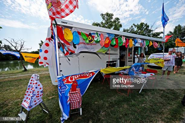 Souvenirs truck during the 108th Tour de France 2021, Stage 14 a 183,7km stage from Carcassonne to Quillan / @LeTour / #TDF2021 / on July 10, 2021 in...