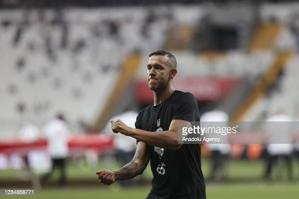 Souza of Besiktas greets fans ahead of the first soccer match of the 2021-2022 Turkish Super Lig season between Besiktas and Caykur Rizespor in...