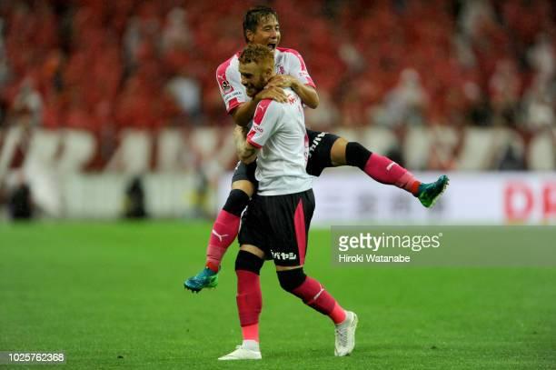 Souza of Cerezo Osaka celebrates scoring his team's second goal during the J.League J1 match between Urawa Red Diamonds and Cerezo Osaka at Saitama...
