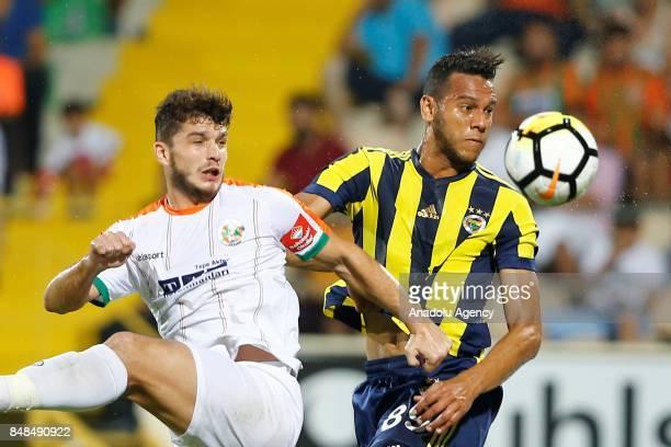 Souza of Fenerbahce in action against Birol Parlak of Aytemiz Alanyaspor during a Turkish Super Lig's 5th week match between Aytemiz Alanyaspor and...