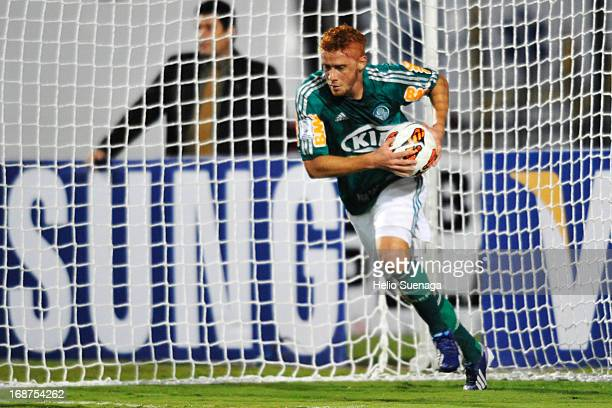 Souza of Palmeiras celebrates a goal during a match between Palmeiras and Tijuana as part of the Copa Bridgestone Libertadores 2013 at Pacaembu...