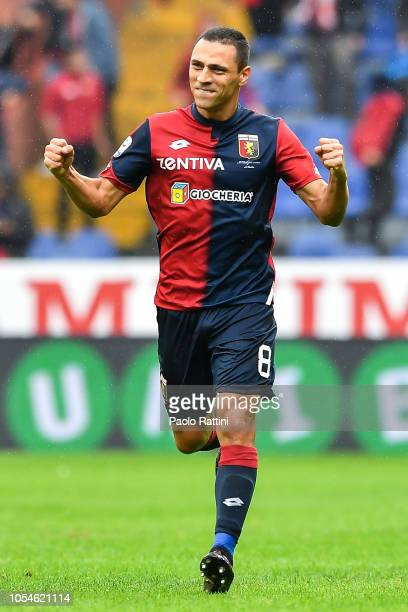 Souza Romulo of Genoa celebrates after scoring a goal on a penalty kick during the Serie A match between Genoa CFC and Udinese at Stadio Luigi...