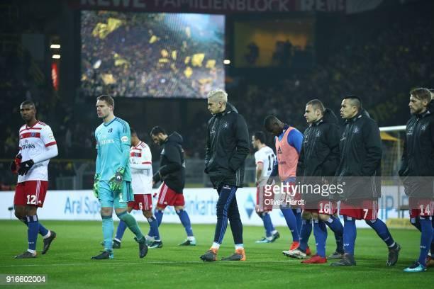 Souza Silva Walace Christian Mathenia and Julian Pollersbeck of Hamburg appears frustrated after the Bundesliga match between Borussia Dortmund and...