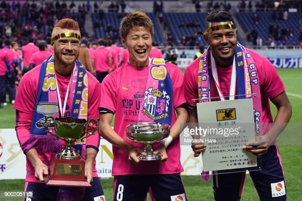 SouzaYoichiro Kakitani and Ricardo Santos of Cerezo Osaka pose for photograph after the 97th All Japan Football Championship final between Cerezo...
