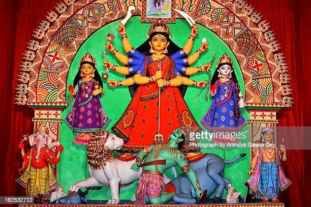 sovabazar beniatola durga puja 2012 - durga stock photos and pictures