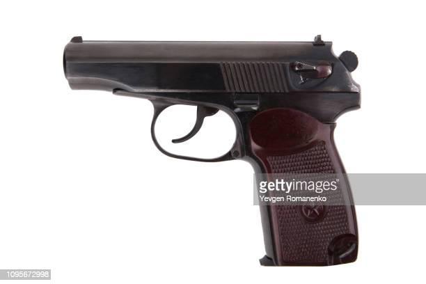 soviet 9mm makarov handgun isolated on white background - ammunition magazine stock photos and pictures