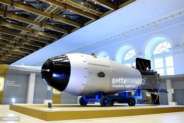Soviet AN602 hydrogen bomb during the exhibition titled '70 Years of the Atomic Industry A Chain Reaction of Success' organised by Rosatom agency at...