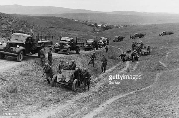 Soviet antitank guns taking up a firing position in the northern caucasus in september 1942 the trucks are american sent as part of the lendlease...