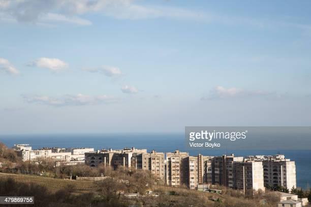 Soviet apartment buildings overlook the Black Sea near the town of Gaspra on March 20 2014 in Gaspra Crimea Ukraine