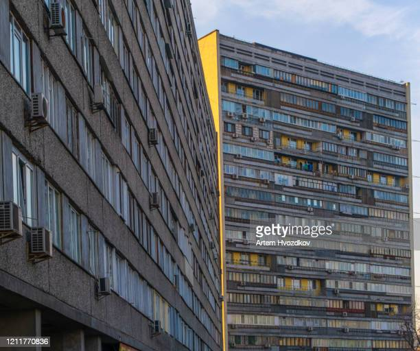 soviet architecture residential building - former soviet union stock pictures, royalty-free photos & images