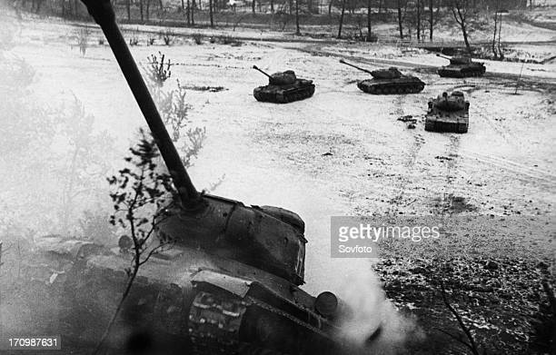 A soviet armored division of the third byelorussian front attacking the germans in east prussia january 1945