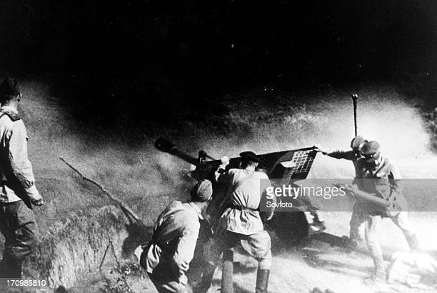 Soviet artillery battery in the northern caucasus 1943