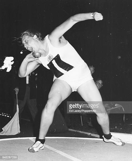 Soviet athlete Tamara Press taking part in a shot put event the year after she won an Olympic gold medal in the shot put in Rome September 20th 1961
